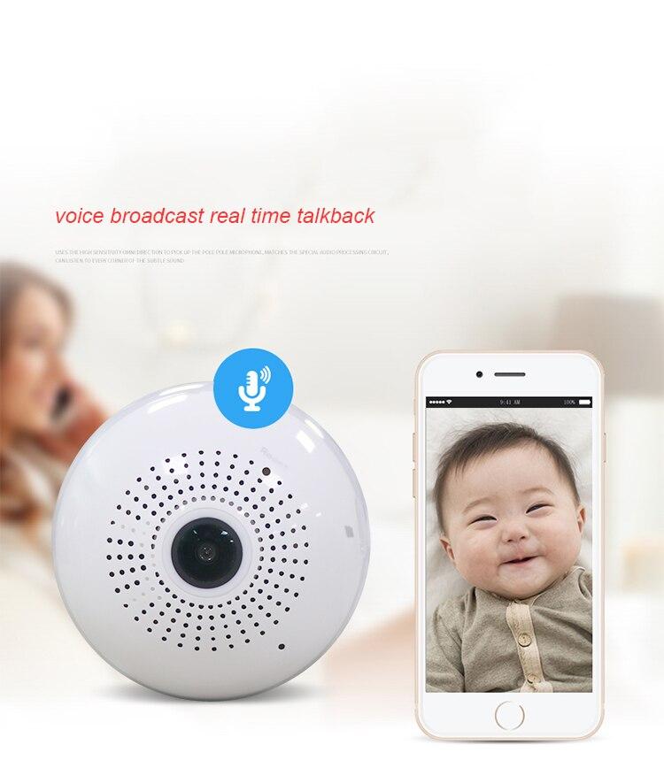 Bulb Light Wireless IP Camera Wi-fi FishEye 960P 360 degree Mini CCTV VR Camera 1.3MP Home Security WiFi Camera Panoramic