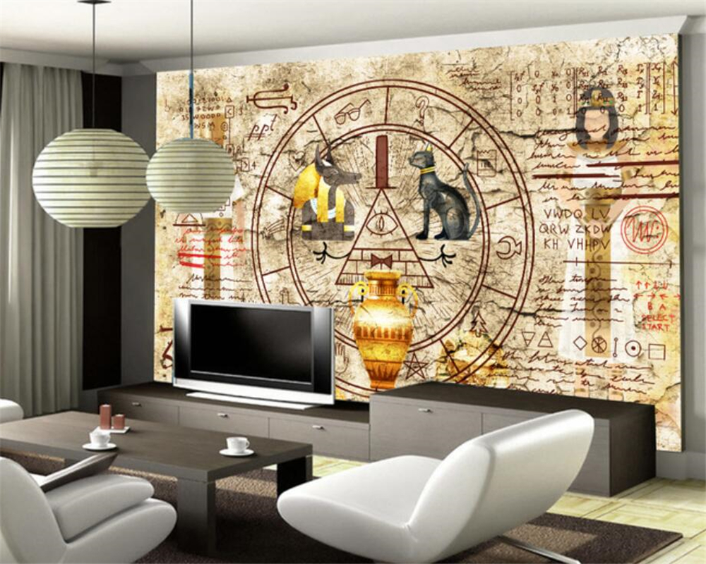beibehang Home decoration large living room bedroom wallpaper retro wall Egyptian mural 3d TV background mural 3d wallpaper pink romantic sakura reflection large mural wallpaper living room bedroom wallpaper painting tv backdrop 3d wallpaper