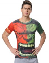 Red Plume Men's Compression Tights Fitness Shirt,Big Mouth Hulk Breathable Sports T-shirt