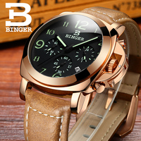 BINGER Men's Casual Watch Chronograph & Luminous Engraved Dial Genuine Leather Auto Date Watch male glow hands Rose gold case