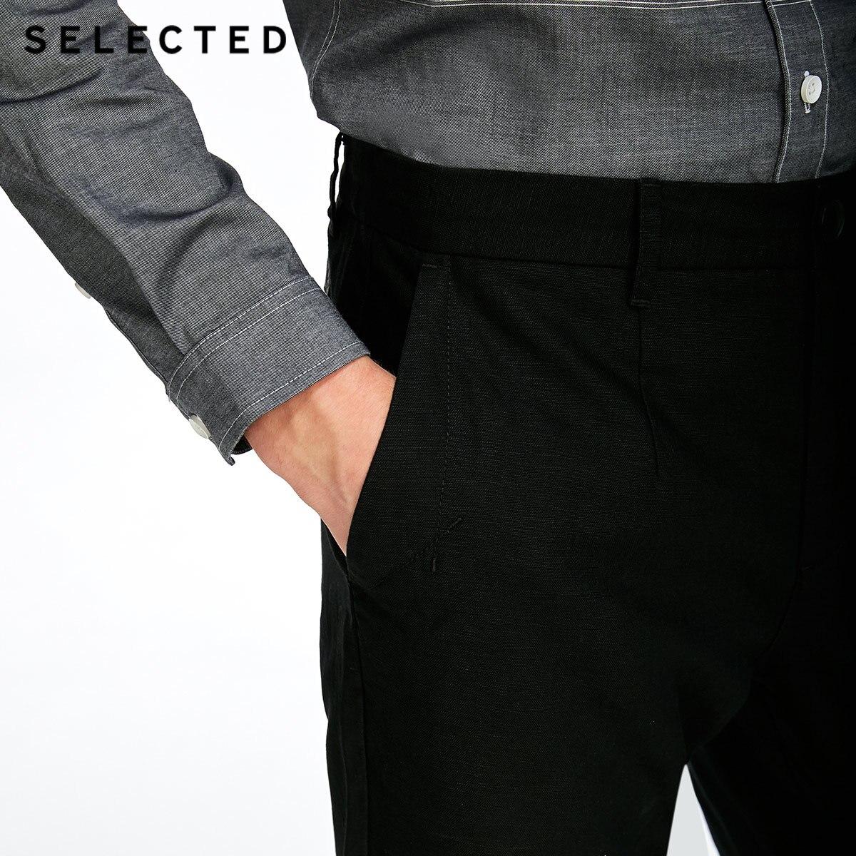 SÉLECTIONNÉ d'affaires décontracté décontracté coton linge de mode pantalon droit C | 417314508 - 5
