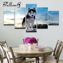 FULLCANG Diy 5PCS Full Square Diamond Embroidery Animal Lonely Wolf Diamond Painting Cross Stitch 5D Mosaic Kits D937 fullcang beauty full square diamond embroidery 5pcs diy diamond painting cross stitch mosaic kits g591