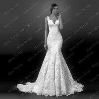 Robe De Mariage New Style Long Mermaid Wedding Dress Cap Sleeves Open Back 2016 Bride Gown