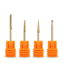 Drill Steel Golden Carbide Coating Nail Drill Bits Barrel 3/32″ Burr Milling Cutters For Manicure Electric Nail Dill Nail Files