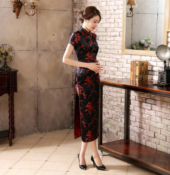 Black Red Chinese Traditional Dress Women S Silk Satin Cheongsam Qipao Sumer Short Sleeve Long Dress