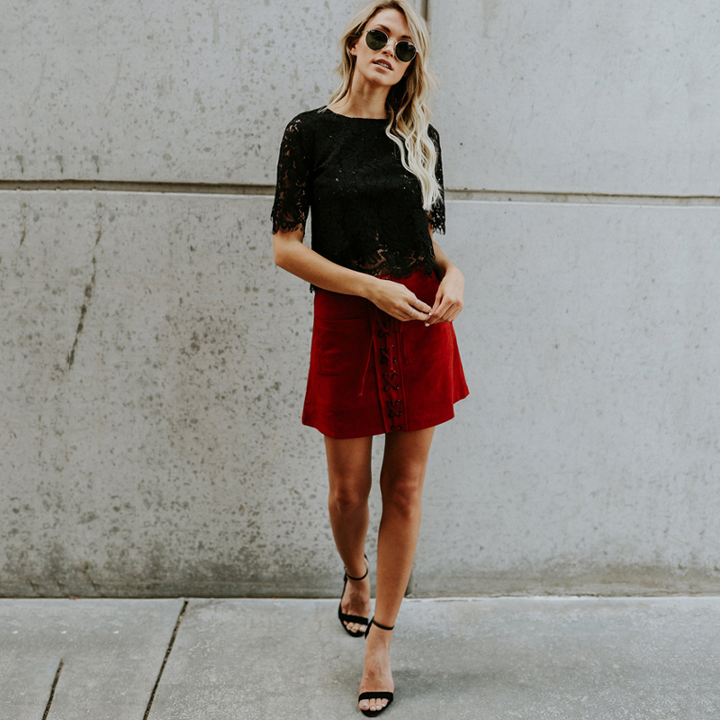 2019 Red Loose Blouse Women Short Sleeve Tops Shirt Casual Lace Tops Shirt Fashion Women Ladies Clothing Tops 20