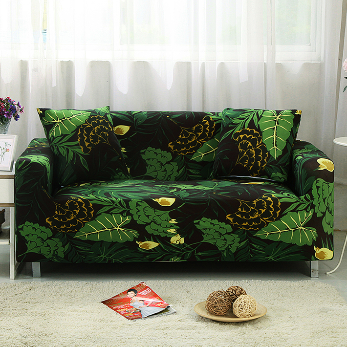 US $3.59 37% OFF|black and green Sofa cover all Wrap Couch covers Printed  stretch Furniture stretch slipcovers sofa Towel sectional fashion home-in  ...