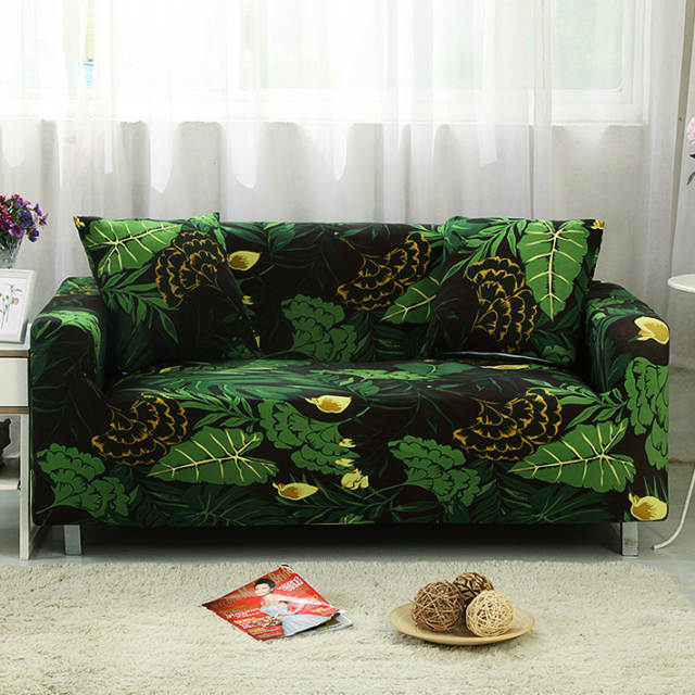 US $3.99 30% OFF|black and green Sofa cover all Wrap Couch covers Printed  stretch Furniture stretch slipcovers sofa Towel sectional fashion home-in  ...