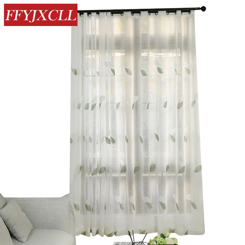 US $9.85 22% OFF|Korean Green Gray Leaves Leaves Tulle for Living Room  Bedroom Kitchen Cafe Drapes Home Decor Window Screening Sheer Curtains-in  ...