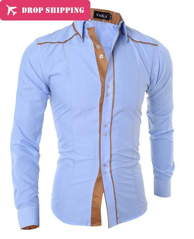 DropshippingDropshippingCamisas Rushed Dropshipping Men Fashion Mäns långärmad tröja Solid Color Lapel Brand Casual
