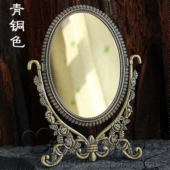 Double-face rétro bronze pliable alliage en métal table maquillage commode de bureau cosmétique miroir décoratif en relief cadre espelho338C