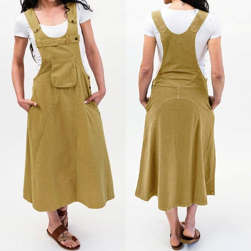 ZANZEA 2021 Linen Overall Dress Women's Summer Sundress Kaftan O Neck Front Pockets Midi Vestidos Vintage Plus Size Tunic Robe