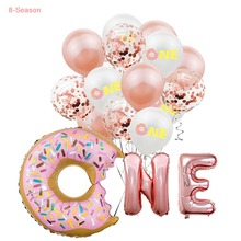 8-Season Sweet Donut One Boy Girl 1st Birthday Balloons Oh Baby Party Decoration Year Grow Up Supplies