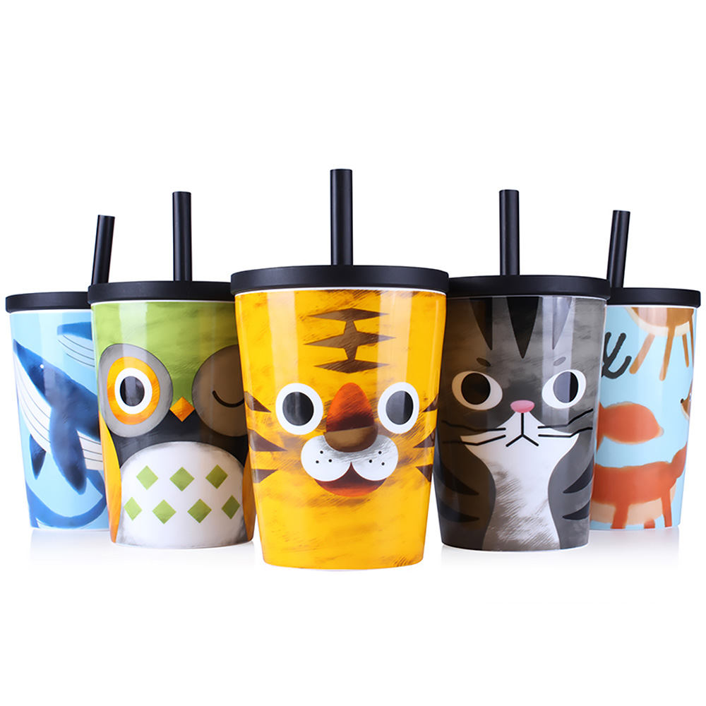 Sleek Lid Straw Portable Cupscartoon Ceramic Office Tea Ceramic Cup Animal Porcelain Coffee Mug Lid Big Capacity Travel Coffee Mugs