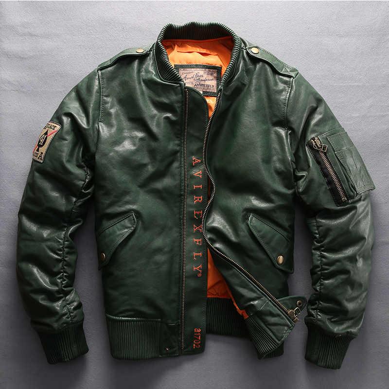 197628e1b AVIREX FLY 2019 Men's Genuine Leather Down Coat Vintage Sheepskin ...