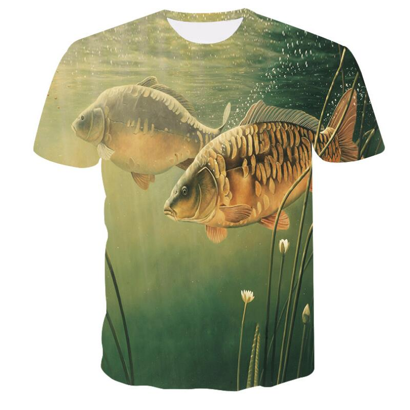 2018 new style casual Digital 3D Print fish   t     shirt   Men Women tshirt Summer Short Sleeve O-neck Tops&Tees fishing   t     shirt