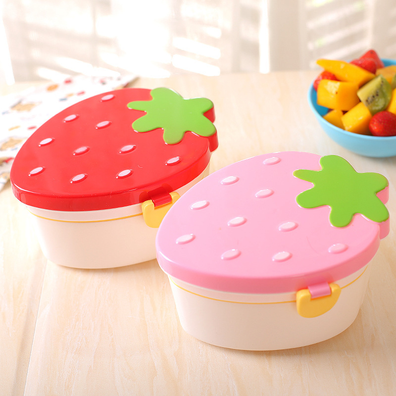 Lovely Strawberry Lunch Box Food Container Storage Box Portable Kids Student Lunch Box Bento Box Container With Spoon Fork X in Lunch Boxes from Home Garden