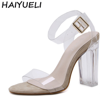 HAIYUELI Summer Women Sandal PVC Block High Heel Crystal Clear Transparent Sandals Concise Buckle Ankle Strap Pump Wedding Shoes