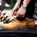 Модный Бренд Мужской Обуви 2016 Новая Весна Водонепроницаемый Натуральная Кожа мужская Зашнуровать Носимых Резиновые Ботинки Размер 38-44 zapatos