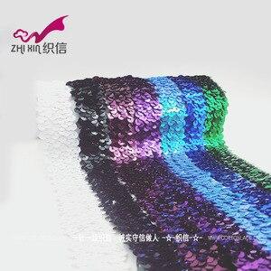 Image 3 - Silver Gold Sequin Tessuto Elasticizzato Elastico Lace Trim Ribbon Allungato Paillettes Ruban Dentelle Copricapo Abbigliamento Accessori