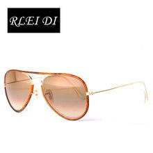 RLEI DI Highest Qulaity Driving Sunglasses Tortoise PU Alloy Frame Gradient Glass Lens Eyewear Men Women Traveling Sun glasses