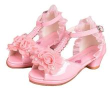 New Children's princess Beads Sandals Children's wear Flowers Wedding shoes High heels Night shoes Girls Party shoes