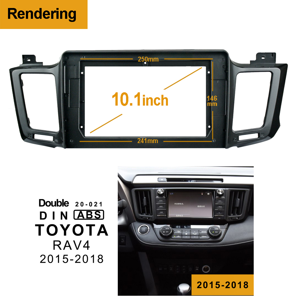1/2Din Car DVD Only Frame Audio Fitting Adaptor Dash Trim Kits Facia Panel 10.1 For Toyota RAV4 2015-18 Double Din Radio Player image
