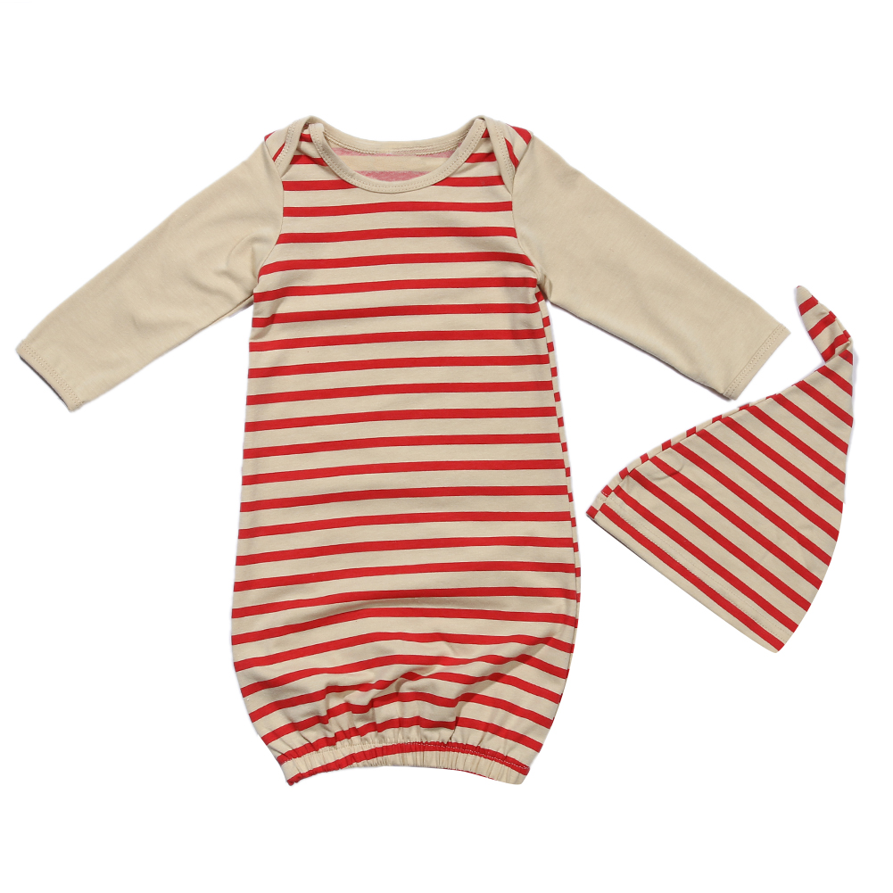 50a3738af 2pcs Newborn Baby Girls Boys Clothes Long Sleeve Red Striped Floral ...