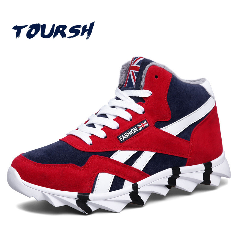 TOURSH Krasovki Men Microfiber Running Shoes With Fur Warm Outdoor Walking Shoes Winter Male Sneakers Sport Shoes