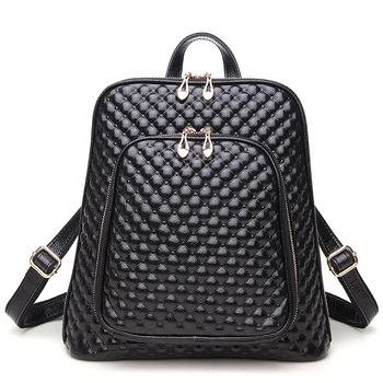 100% Genuine Leather Women Backpack New Fashion Luxury Brand Female Real Natural Leather Ladies Diamond Lattice Design Backpack