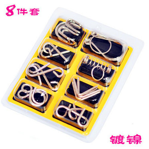 Image 4 - 8pcs/Set Metal Wire Puzzle IQ Mind Brain Teaser Puzzles Game Adults Children Kids Montessori Early Educational Toys A Nice Gift.