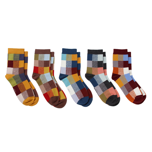 Men's Checked Compession Socks, 5 Pcs Set