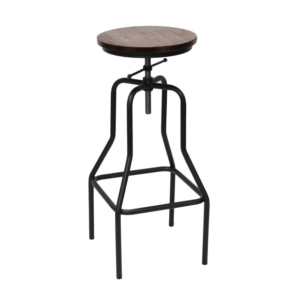 Bar Stool Vintage Pub Cafe Chair Rotating Round Stool Universal Metal Chair Adjustable Height 69-89CM Swivel Barstool Furniture high back bar stool vintage pub cafe chair rotating round stool universal metal chair adjustable height swivel barstool