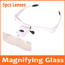 1.0X 1.5X 2X 2.5X 3.5X LED Illuminated Portable Goggle Glasses Style Reading Repair Magnifier Loupe Medical Magnifying Glass