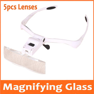 Image 1 - 1.0X 1.5X 2X 2.5X 3.5X Led Verlichte Portable Goggle Glazen Stijl Reading Reparatie Vergrootglas Loupe Medisch Vergrootglas