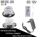 DC 12V RGB LED Strip 5M 300LED Not Waterproof 5050 2835 Fita LED Light Flexible Neon Tape Lamp With 3A Power + 44Key Controller