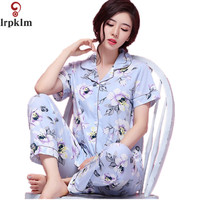 2017 Brand Spring Pajama Set For Women Short Sleeve Cute Girl Sleepwear Pocket Floral Design 100
