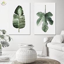 Nordic Poster Decoration Tropical Green Leaves Wall Art Canvas and Print Scroll Painting Home