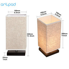 Artpad Japanese Tatami Style Simple Table Lamps with Fabric Lamp Shade E27 Study Bedside Standing Lamp for Desktop Fixtures