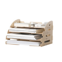 Wooden Four Layers Storage Racks for A4 Paper Office Desk Organizer Files Rack Colorful Multi-Use Storage Holders