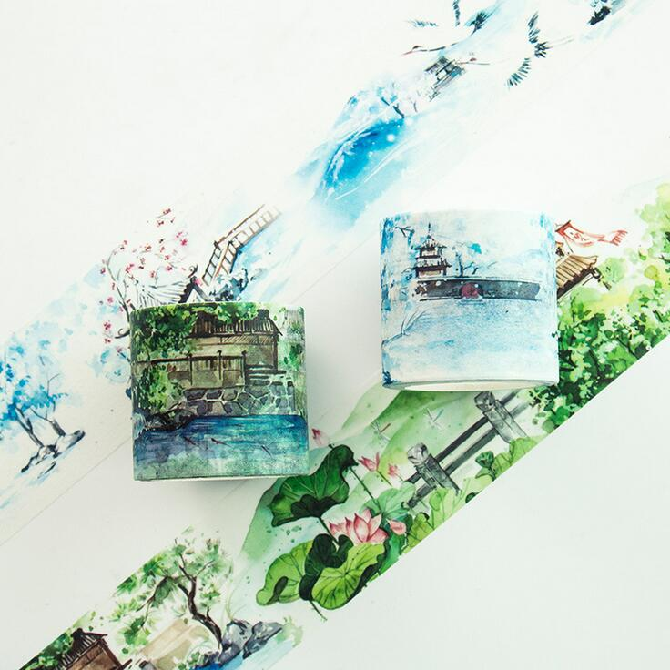 4CM Wide The Pavilion In Winter Summer Scenery Washi Tape Adhesive Tape DIY Scrapbooking Sticker Label Masking Tape high quality filament tape 4cm wide