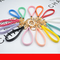 Gold Plated Double Circle Keyrings PU Leather Cord Trinket Keychain Charms Rope For Women DIY Findings