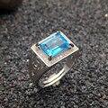 100% природных топаз кольцо классические твердые стерлингового серебра 925 кольцо для человека Изумрудный Cut 7 мм * 9 мм fairless голубой топаз Рождество