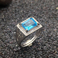 100% natural topaz ring  classic solid 925 sterling silver ring for man Emerald Cut 7mm*9mm fairless light blue topaz Christmas