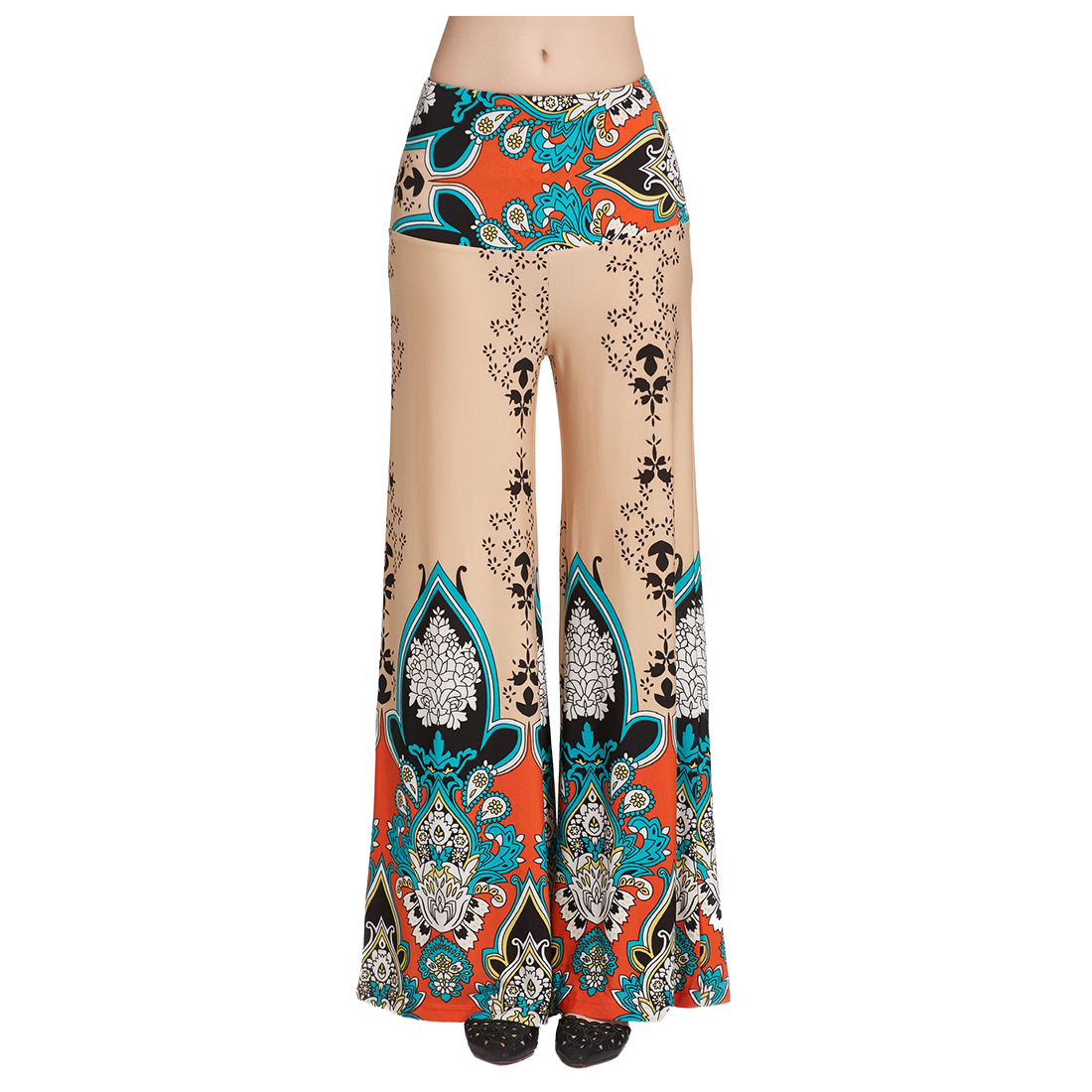 Women High Waist Loose Long Pants Palazzo Wide Leg Dance Pants Floral Printing Tribal Pattern Pants Bell Bottom Trousers