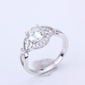 Image 1 - 1.0ct Moissanites diamond Engagement Rings for women 14k white gold Wedding rings female Jewelry top quality
