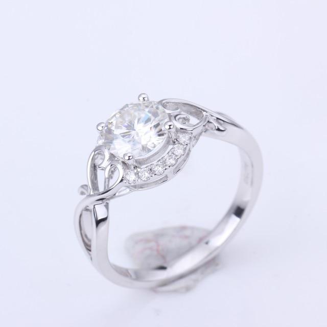 1.0ct Moissanites diamond Engagement Rings for women 14k white gold Wedding rings female Jewelry top quality