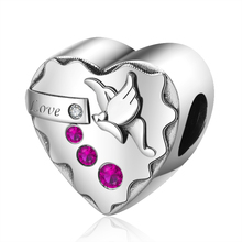 цена Hot Sale 100% 925 Sterling Silver Butterfly heart Pink clear CZ Charm Beads fit pandora Women Bracelet Jewelry free shipping онлайн в 2017 году