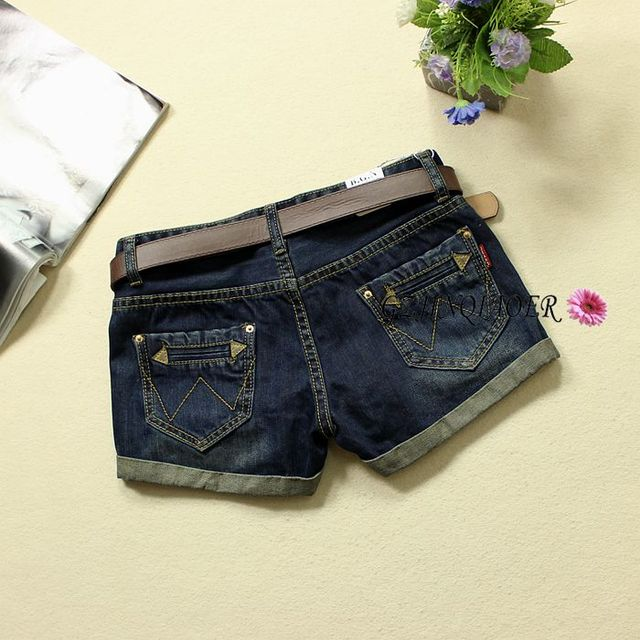 2016 шорты джинсы женские осенью и зимой темно-синий тонкий низкой талией старинные pantalones cortos mujer прямые мягкие джинсовые шорты