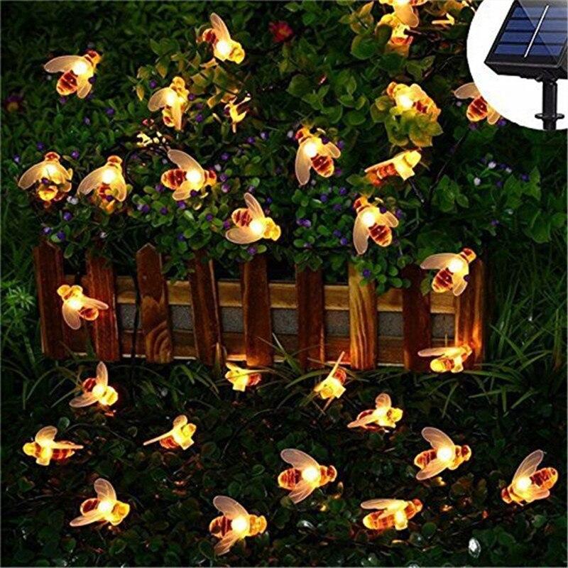 New Solar Powered Cute Honey Bee Led String Fairy Light 20leds 50leds Bee Outdoor Garden Fence Patio Christmas Garland Lights 2